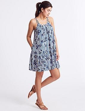 Printed Woven Beach Dress, NAVY MIX, catlanding