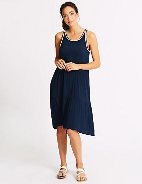 Cotton Rich Crinkle Pleated Beach Dress    , NAVY MIX, catlanding