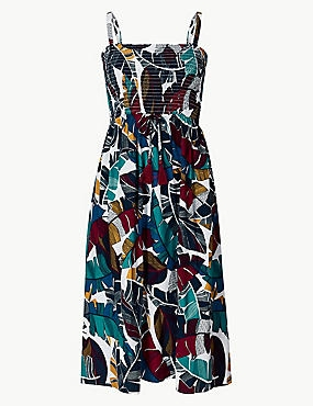 Leaf Print Woven Midi Beach Dress, PURPLE MIX, catlanding