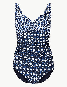 Secret Slimming™ Plunge Twisted Swimsuit, NAVY MIX, catlanding