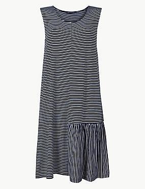 Striped Jersey Beach Dress , NAVY MIX, catlanding