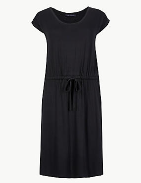 Short Sleeve Beach Dress, BLACK, catlanding
