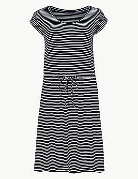 Striped Beach Dress, NAVY MIX, catlanding