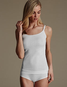 2 Pack Thermal Pointelle Strappy Vests, WHITE, catlanding