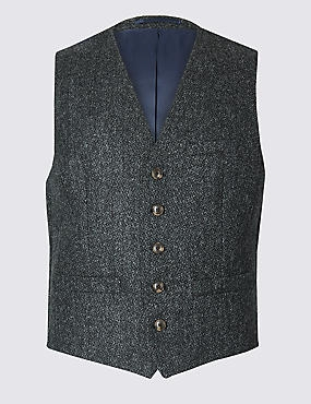 Pure Wool Tailored Fit Textured Waistcoat, CHARCOAL, catlanding