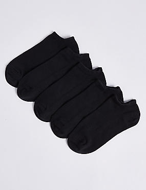 5 Pairs of  Cotton Rich Trainer Liners(3-16 Years), BLACK, catlanding