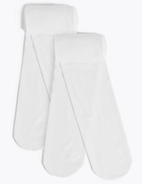 2 Pack Tights with Freshfeet™ (3-12 Years), WHITE, catlanding