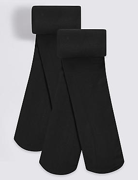 2 Pairs of Opaque Tights (4-14 Years), BLACK, catlanding