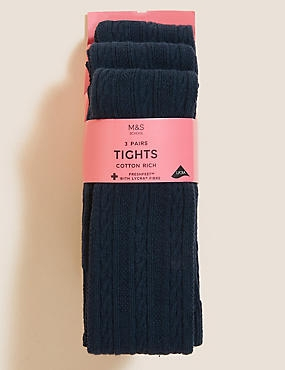 3 Pairs of Cable Knit Tights (4-14 Years), NAVY, catlanding