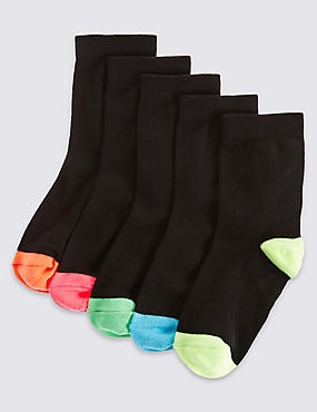 5 Pairs of Cotton Rich Socks  (3-14 Years), BLACK, catlanding