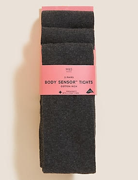 3 Pairs of Body Sensor™ School Tights  (4-14 Years), GREY, catlanding