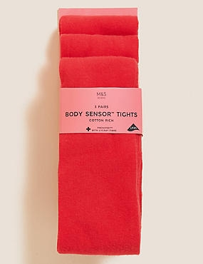 3 Pairs of Body Sensor™ School Tights  (3-14 Years), RED, catlanding
