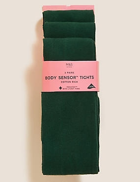 3 Pairs of Body Sensor™ School Tights  (4-14 Years), GREEN, catlanding
