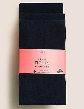 3 Pairs of School Tights (5-14 Years), NAVY, catlanding