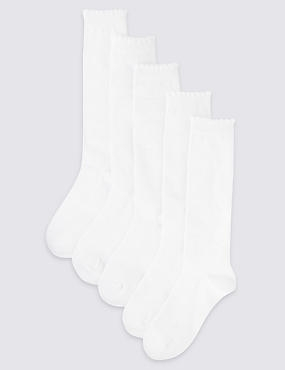 5 Pairs of  Butterfly Knee High Socks (2-14 Years), WHITE, catlanding