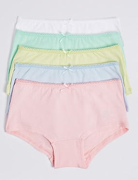 5 Pack Cotton Shorts with Stretch (6-16 Years), PASTEL, catlanding