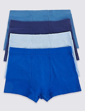 4 Pack Cotton Trunks with Stretch (18 Months - 16 Years), NAVY MIX, catlanding