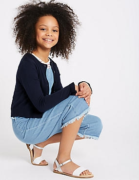 Pure Cotton Frill Sleeve Cardigan (3-16 Years), NAVY, catlanding