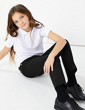 2 Pack Girls' Slim Leg Trousers, BLACK, catlanding