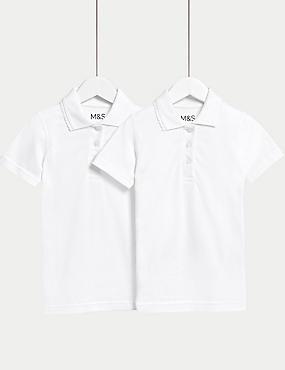 2 Pack Girls' Slim Fit Polo Shirts, WHITE, catlanding