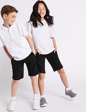 2 Pack Boys Cotton Rich Shorts, BLACK, catlanding