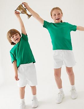 2 Pack Unisex Pure Cotton Shorts, WHITE, catlanding