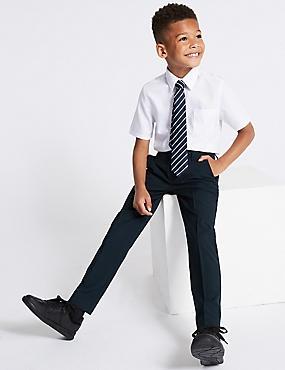 Boys' Longer Length Skinny Leg Trousers, NAVY, catlanding