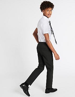 Senior Boys' Slim Leg Trousers, CHARCOAL, catlanding