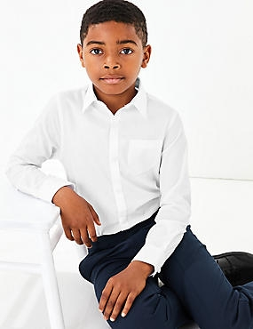 2 Pack Boys' Slim Fit Non-Iron Shirts, WHITE, catlanding