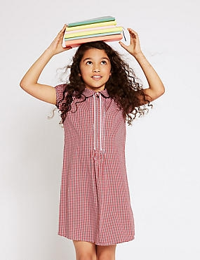 Girls' Gingham Pure Cotton Zip Dress, RED, catlanding