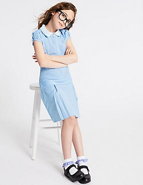 Girls' Gingham Longer Length Dress, BLUE, catlanding