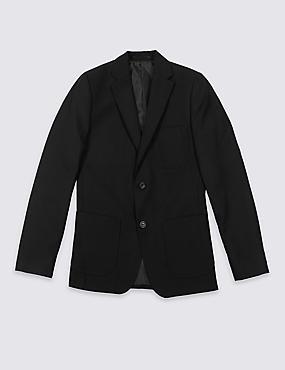 Senior Boys' Plus Fit Blazer, BLACK, catlanding