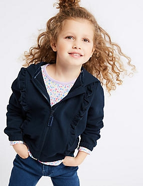 Cotton Rich Frill Hooded Top (3 Months - 7 Years), NAVY, catlanding