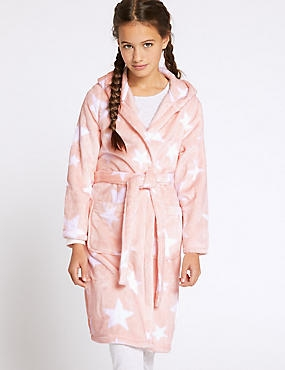 Star Print Dressing Gown (1-16 Years), SOFT PINK, catlanding