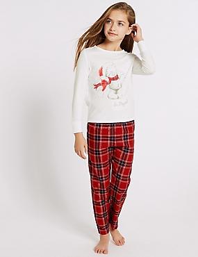 Checked Pyjamas (3-16 Years), RED MIX, catlanding