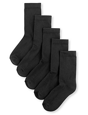5 Pairs of Freshfeet™ Cotton Rich Sports Socks(5-14 Years), BLACK, catlanding
