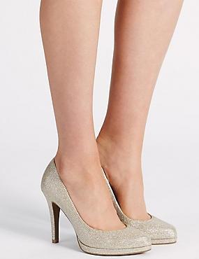 Stiletto Platform Court Shoes, METALLIC, catlanding