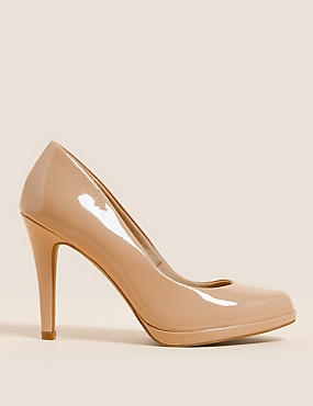 Stiletto Platform Court Shoes with Insolia®, CARAMEL, catlanding