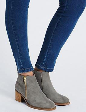 Suede Block Heel Ankle Boots, GREY, catlanding