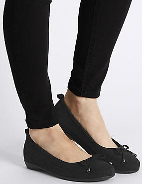 Wide Fit Leather Ballerina Shoes, BLACK, catlanding