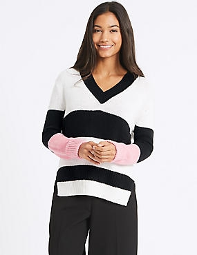 Cotton Blend Colour Block V-Neck Jumper, WHITE MIX, catlanding
