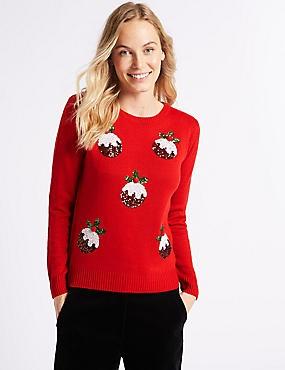 Christmas Pudding Embellished Jumper, RED MIX, catlanding