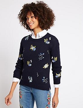 Cotton Rich Embroidered Round Neck Jumper, NAVY MIX, catlanding