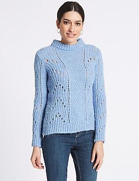 Textured Round Neck Long Sleeve Jumper, SOFT BLUE, catlanding