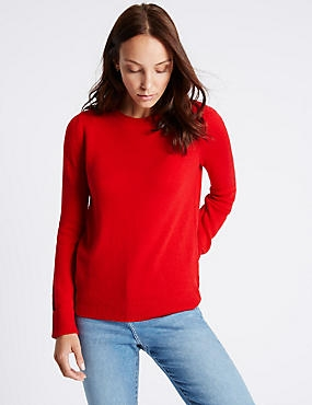 Lambswool Rich Round Neck Jumper, LACQUER RED, catlanding