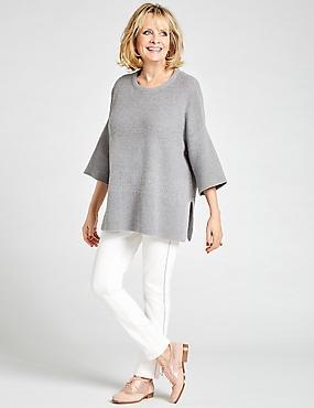Wool Rich Textured Round Neck Jumper, GREY MARL, catlanding