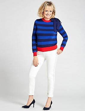 Pure Cotton Shoulder Tie Striped Jumper, MULTI, catlanding