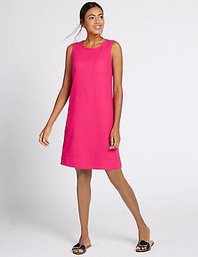 Linen Blend Tunic Dress, RASPBERRY, catlanding