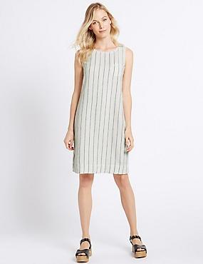 Linen Rich Striped Tunic Dress, IVORY MIX, catlanding