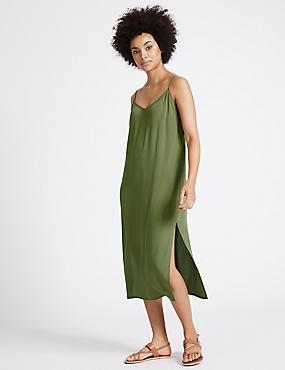 Side Split Slip Midi Dress, KHAKI, catlanding